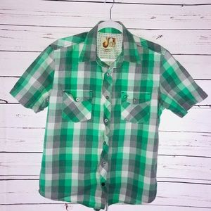 Green and Gray Button Down Short Sleeve Shirt